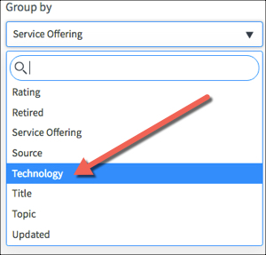 Kingston Reports configuration tab with the Group By menu open and highlighting Technology