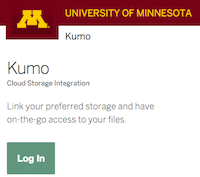 Kumo log in page with green button