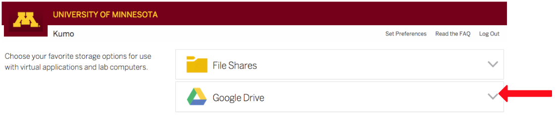 Red arrow pointing to Google Drive drop-down arrow option