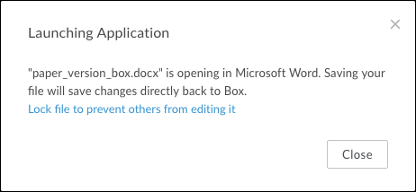 The Launching Application window with lock file link and close button