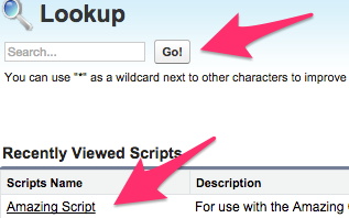 The Script Lookup screen