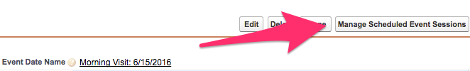 The Manage Scheduled Event Sessions button above the Event Attendee Detail