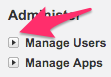 The location of the expander box for Manage Users