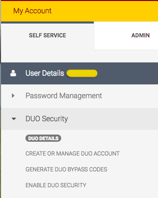 This is the self-service pane on the My-Account sidebar.  The DUO Security menu is expanded.