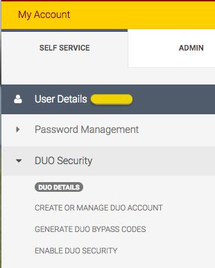 The DUO Security menu in the Self Service sidebar on my-account.umn.edu .