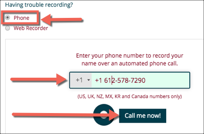 "Phone option for NameCoach with phone number in the correct field and the ""Call me now!"" button highlighted"
