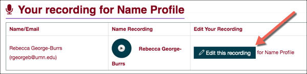 "Your recording for Name Profile with the ""Edit this recording"" button highlighted"