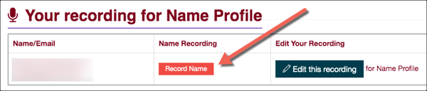 Your recording for Name Profile page with Record Name button highlighted