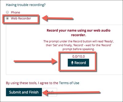Web Recorder option marked in NameCoach with a Record button in the center and a Submit and Finish button at the bottom