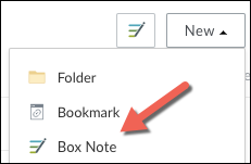 The New Menu expanded with Box Note highlighted in the list