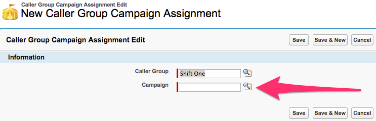 The New Caller Group Campaign Assignment screen