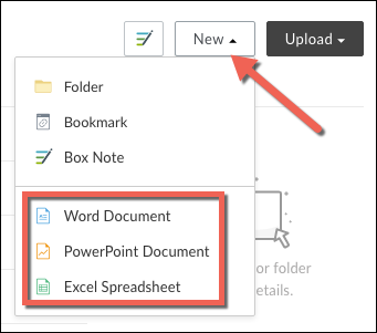 The new menu expanded with the available Microsoft Office Products of Word, PowerPoint, and Excel highlighted