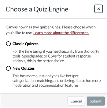 Choose a Quiz Engine options box
