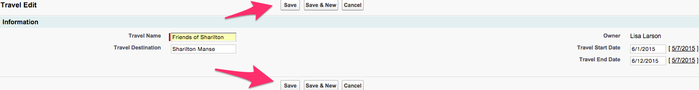 A screenshot of the New Travel page with example information filled in and the Save buttons highlighted.