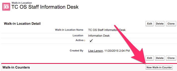 A screenshot of the New Walk-in Counter button location on the Walk-in Location record