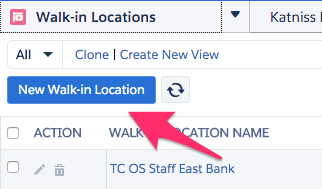 The location of the New Walk-in Location button
