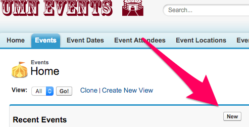 The New button on Events Home