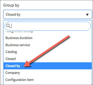 Kingston Report Configuration tab Group by menu open with Closed by option highlighted