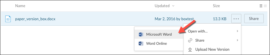 The Open with menu for a file expanded and Microsoft Word highlighted
