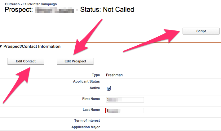 Various options highlighted on the Outreach Prospect record