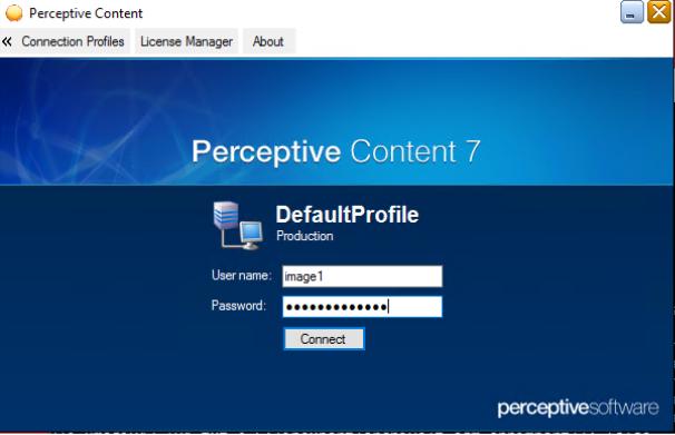 perceptive content log in screen