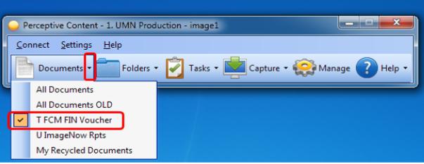 document dropdown, T FCM FIN Voucher selected