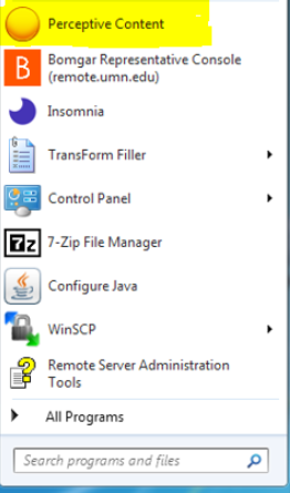 windows start menu, perceptive content icon highlighted