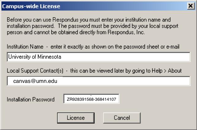 Respondus Quiz Builder window configured