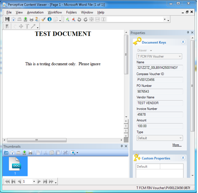 document screen after double-clicking voucher