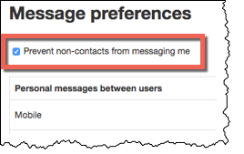 Highlighted area where the Prevent non-contacts from messaging me is checked