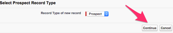 The Continue button on the Select Prospect Record Type screen