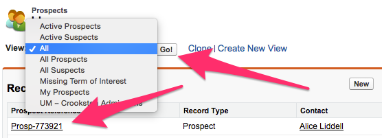 The Prospects Home Tab with the View menu highlighted and the location of a Prospect Reference highlighted