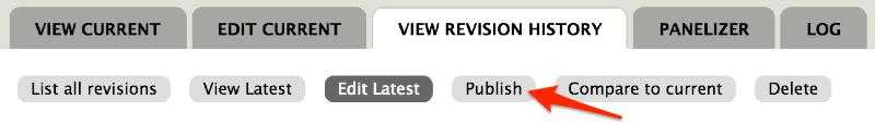 Screenshot of Drupal publish draft options