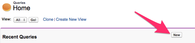 The New button on the Queries Home Tab