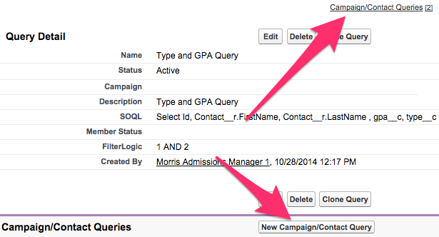 The New Campaign/Contact Query buttons