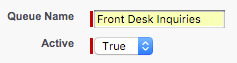 The Queue Name and Active dropdown fields