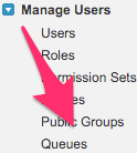 The location of Queues in the Manage Users List