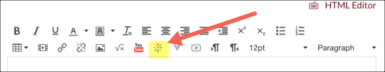 rich content editor with Kaltura media button highlighted