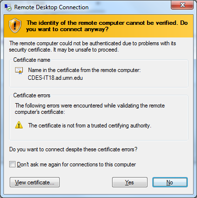 RDC Certificate Issue