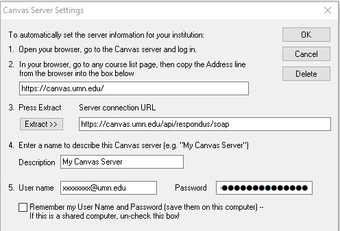 Respondus server configursation for Canvas.