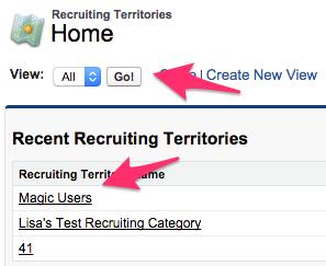 The Recruiting Territories Home Tab