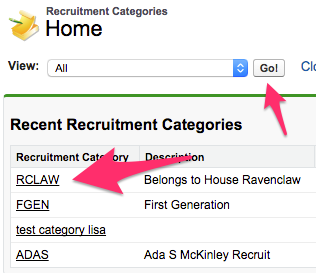 The Recruitment Categories Home Tab