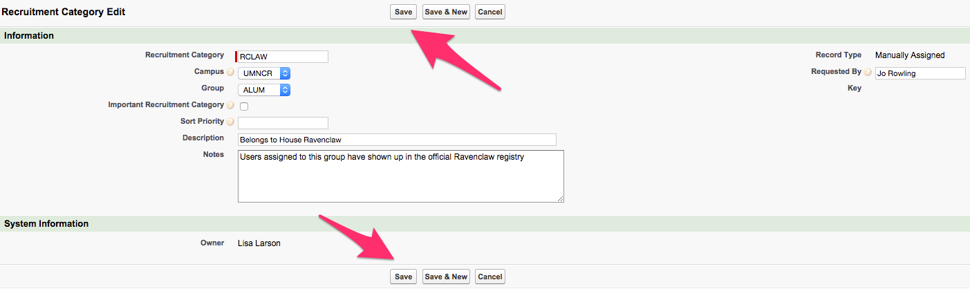 The Save button locations on the New Recruitment Category page