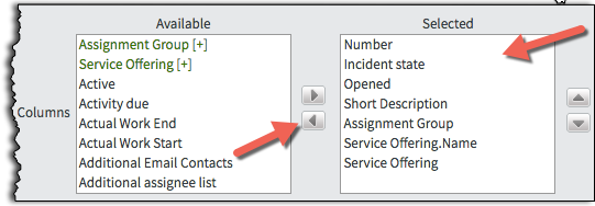 A screenshot showing the list and buttons to Move fields from Selected to Available