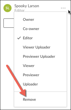 A screenshot showing the open collaborator menu for an individual collaborator with the Remove option highlighted