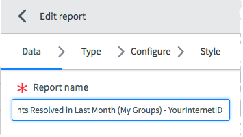 The Data Tab selected with a cursor in the Report name field