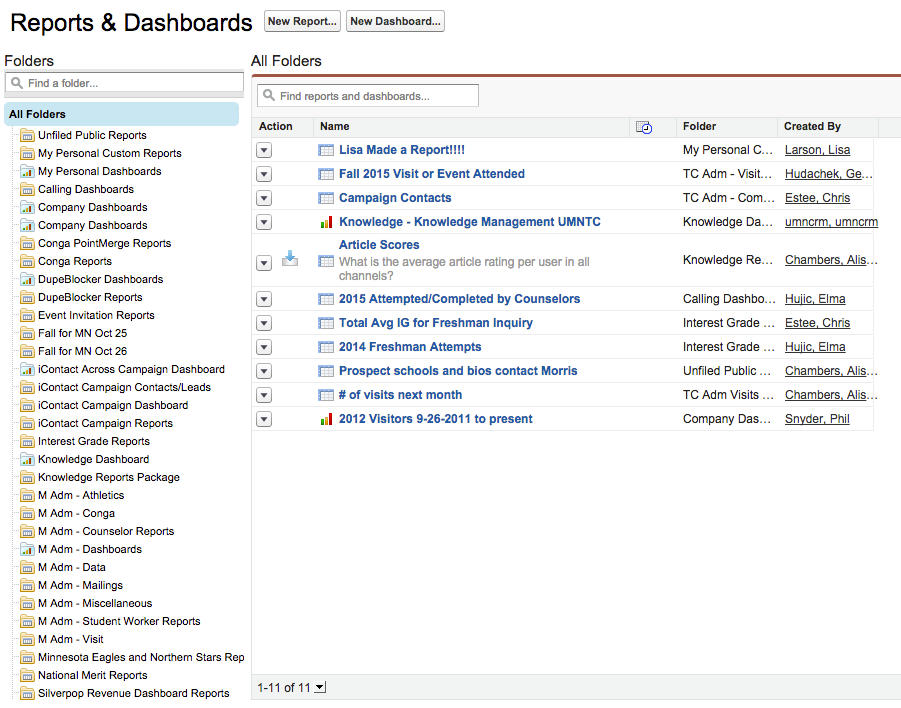 The Reports & Dashboards Home Tab