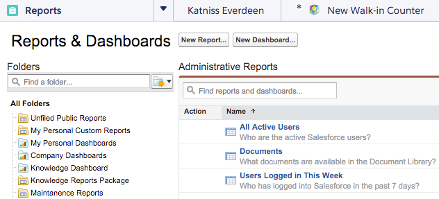 The Reports & Dashboards tab with a report folder selected
