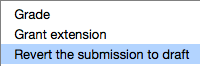 drop down menu with revert the submission to draft option highlighted