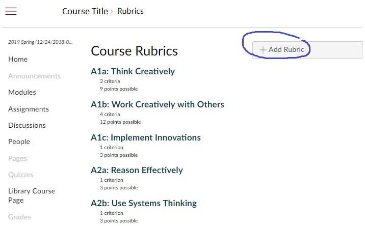 Add a Rubric is in upper right of Rubrics page.